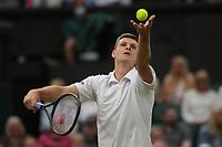 6th July 2021, Wimbledon, SW London, England; 2021 Wimbledon Championships, day 8;  Hubert Hurkacz of Poland serves during the mens singles fourth round match