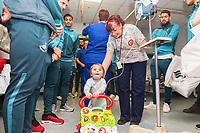 Thursday 21 December 2017<br /> Pictured: Angel Rangel, Kyle Naughton and Kristoffer Nordfeldt of Swansea City<br /> Re: Swansea City Childrens Ward Visit, Morriston Hospital, Swansea, Wales, UK