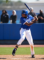 IMG Academy Ascenders James Wood (23) bats during a game against the Lakeland Dreadnaughts on February 20, 2021 at IMG Academy in Bradenton, Florida.  (Mike Janes/Four Seam Images)