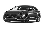 Stock pictures of low aggressive front three quarter view of 2020 Hyundai i30-Fastback Sky 5 Door Hatchback Low Aggressive