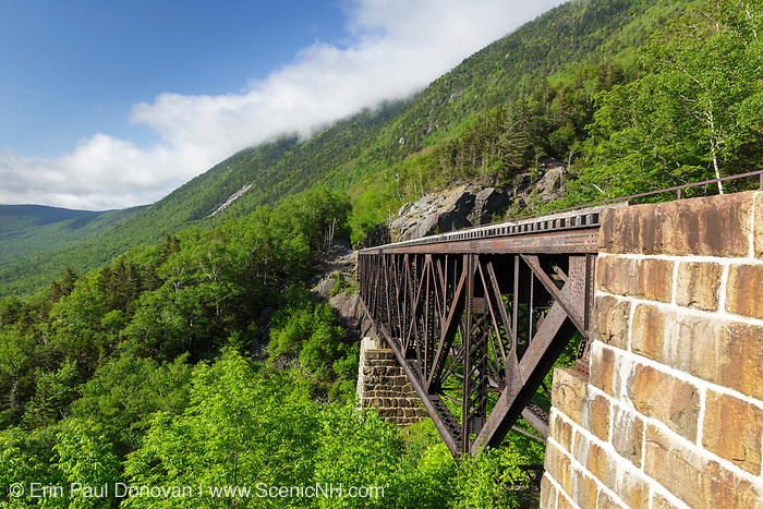 The Willey Brook Trestle along the old Maine Central Railroad in Hart's Location, New Hampshire during. This trestle is within Crawford Notch State Park. And since 1995 the Conway Scenic Railroad, which provides passenger excursion trains has been using the track.