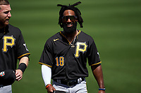 Pittsburgh Pirates Brian Goodwin (18) during warmups before a Major League Spring Training game against the Minnesota Twins on March 16, 2021 at Hammond Stadium in Fort Myers, Florida.  (Mike Janes/Four Seam Images)