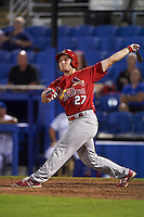 Palm Beach Cardinals right fielder Nick Thompson (27) at bat during a game against the Dunedin Blue Jays on April 15, 2016 at Florida Auto Exchange Stadium in Dunedin, Florida.  Dunedin defeated Palm Beach 8-7.  (Mike Janes/Four Seam Images)