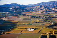 aerial photograph of Napa Valley vineyards in the fall, Napa County, California