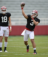 Arkansas quarterback Lucas Coley passes the ball Saturday, April 3, 2021, during a scrimmage at Razorback Stadium in Fayetteville. Visit nwaonline.com/210404Daily/ for today's photo gallery. <br /> (NWA Democrat-Gazette/Andy Shupe)