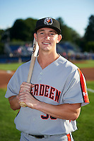 Aberdeen Ironbirds Austin Hays (35) poses for a photo before a game against the Batavia Muckdogs on July 14, 2016 at Dwyer Stadium in Batavia, New York.  Aberdeen defeated Batavia 8-2. (Mike Janes/Four Seam Images)