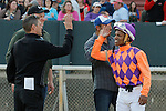 Jockey Ricardo Santana, Jr. celebrating with the co-trainer Darren Flemming after an objection during the running of the Honeybee Stakes (Grade III) at Oaklawn Park in Hot Springs, Arkansas-USA on March 8, 2014. (Credit Image: © Justin Manning/Eclipse/ZUMAPRESS.com)