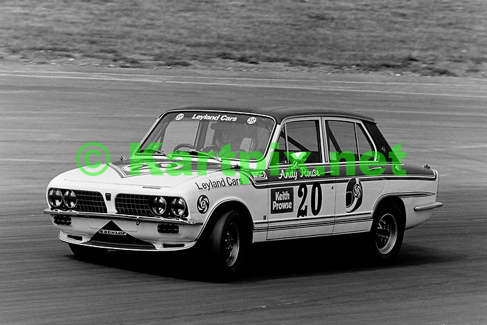 British touring car legend Andy Rouse at the wheel of his British Leyland Triumph Dolomite Sprint at the 1976 John Player British Grand Prix support race.