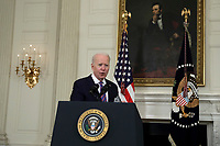 U.S. President Joe Biden arrives to deliver remarks on the March jobs report at the White House in Washington on April 2, 2021. <br /> CAP/MPI/RS<br /> ©RS/MPI/Capital Pictures