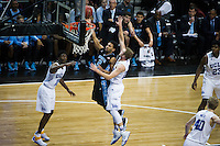 BROOKLYN, NY - Saturday December 19, 2015: Joel Berry II (#2) of North Carolina drives to the basket on Bryce Alford (#20) of UCLA as the two teams square off in the CBS Classic at Barclays Center in Brooklyn, NY.