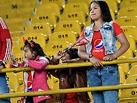 BOGOTA - COLOMBIA - 23 - 01 - 2018: Hinchas de America de Cali, animan a su equipo, durante partido entre America de Cali y Deportivo Cali, por el Torneo Fox Sports 2018, jugado en el estadio Nemesio Camacho El Campin de la ciudad de Bogota. / Fans America de Cali, cheer for their team during a match between America de Cali y Deportivo Cali, for the Fox Sports Tournament 2018, played at the Nemesio Camacho El Campin stadium in the city of Bogota. Photo: VizzorImage / Luis Ramirez / Staff.