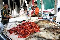 Mercato del pesce a Rialto, Venezia.<br /> Fish on sale at Rialto food markets, in Venice.<br /> UPDATE IMAGES PRESS/Riccardo De Luca