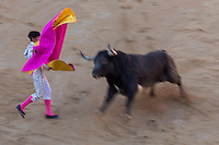 Espagne, Navarre, Pameplune, la corrida dans les arènes durant l'Encierro, célèbre course de taureau en ville, Ernest Hemingway y assista la première fois en 1923 //  Spain, Navarra, Pamplona, bullfight in the bullring during El Encierro, famous bull race in the city, Ernest Hemingway saw one for the first time in 1923