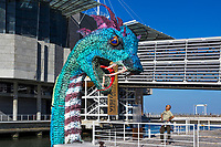 LISBON, PORTUGAL - MARCH 24: A person looks at the plastic Marine Monster in Lisbon, on March 24, 2021. <br /> Lisboa now has a real Marine Monster which represents the increasing volume of plastic in the oceans. The installation was made with 12 tons of used disposable plastic bottles, placed at the Dock of Olivals, along with the Oceanario de Lisboa <br /> (Photo by Luis Boza/VIEWpress )