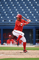 GCL Nationals second baseman Luis Garcia (7) at bat during the second game of a doubleheader against the GCL Mets on July 22, 2017 at The Ballpark of the Palm Beaches in Palm Beach, Florida.  GCL Mets defeated the GCL Nationals 4-1.  (Mike Janes/Four Seam Images)