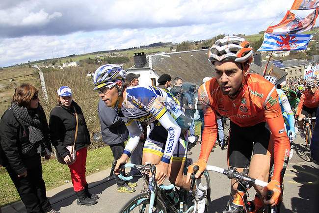 The peloton including Carrara Matteo (ITA) Vacansoleil-DCM climb Cote de Saint-Roch during the 98th edition of Liege-Bastogne-Liege, running 257.5km from Liege to Ans, Belgium. 22nd April 2012.  <br /> (Photo by Eoin Clarke/NEWSFILE).