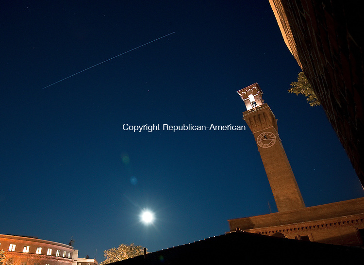 The Republican-American tower with a Blue Moon and an International Space Station flyover. Jim Shannon Republican-American