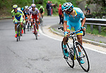 Diego Rosa (ITA) Astana breaks away on the final climb up Superga to win the 2015 96th Milan-Turin 186km race starting at San Giuliano Milanese and finishing at Bisilica di Superga, Turin, Italy. 1st October 2015.<br /> Picture: Claudio Peri/ANSA | Newsfile