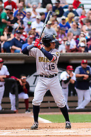 Burlington Bees first baseman Franklin Torres (15) at bat during a Midwest League game against the Wisconsin Timber Rattlers on May 19, 2018 at Fox Cities Stadium in Appleton, Wisconsin. Wisconsin defeated Burlington 1-0. (Brad Krause/Four Seam Images)