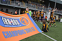 The Alloa team make their way on to the field at the start of the game.