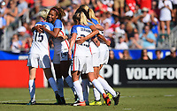 Cary, NC - Sunday October 22, 2017: Megan Rapinoe celebrates a goal with Casey Short during an International friendly match between the Women's National teams of the United States (USA) and South Korea (KOR) at Sahlen's Stadium at WakeMed Soccer Park.