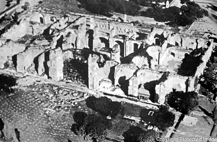 Aerial view of the ruins of the Baths of Caracalla, Rome Italy, 211 - 127 CE