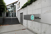 7th October 2020, FRankfurt, Germany; The DFB German Football League offices are raided by the German Anti-Fraud squad;  The DFB Logo on display outside the building