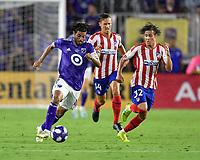 Orlando, FL - Wednesday July 31, 2019:  Carlos Vela #10, Rodrigo Riquelme #32 during an Major League Soccer (MLS) All-Star match between the MLS All-Stars and Atletico Madrid at Exploria Stadium.