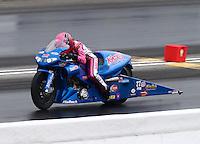 May 19, 2014; Commerce, GA, USA; NHRA pro stock motorcycle rider Angie Smith during the Southern Nationals at Atlanta Dragway. Mandatory Credit: Mark J. Rebilas-USA TODAY Sports