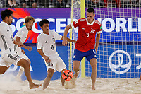 29th August 2021; Luzhniki Stadium, Moscow, Russia: FIFA World Cup Beach Football tournament; Russia versus Japan;  Boris Nikonorov of Russia challenges Naoya Matsuo and Takumi Uesato of Japan, during the match between Russia and Japan