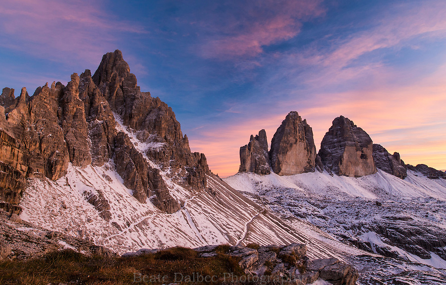 Tre Cime and Monte Paterno at sunset, Dolomites, Italy