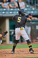 Kean Wong (5) of the Salt Lake Bees at bat against the Tacoma Rainiers at Smith's Ballpark on May 13, 2021 in Salt Lake City, Utah. The Rainiers defeated the Bees 15-5. (Stephen Smith/Four Seam Images)