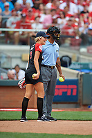 Fox Sports Charissa Thompson and umpire JJ January during the All-Star Legends and Celebrity Softball Game on July 12, 2015 at Great American Ball Park in Cincinnati, Ohio.  (Mike Janes/Four Seam Images)
