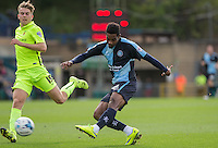 Jason Banton of Wycombe Wanderers hits a shot at goal during the Sky Bet League 2 match between Wycombe Wanderers and Hartlepool United at Adams Park, High Wycombe, England on 5 September 2015. Photo by Andy Rowland.