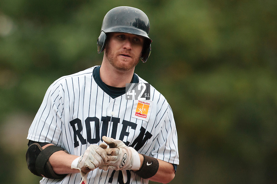 23 October 2010: Aaron Hornostaj of Rouen is seen during Savigny 8-7 win (in 12 innings) over Rouen, during game 3 of the French championship finals, in Rouen, France.