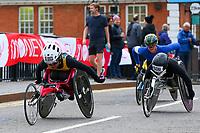 3rd October 2021; London, England: The Virgin Money 2021 London Marathon: Vanessa de Souza of Brazil crossing Narrow Street Swing Bridge, Limehouse Basin between mile 14 and 15.