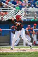 Batavia Muckdogs third baseman Rony Cabrera (26) at bat during a game against the West Virginia Black Bears on June 25, 2017 at Dwyer Stadium in Batavia, New York.  West Virginia defeated Batavia 6-4 in the completion of the game started on June 24th.  (Mike Janes/Four Seam Images)