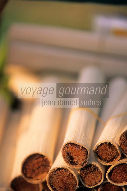 Asie/Thaïlande/Env de Chiang Mai/Parc National de Doi-Suthep-Doi Pui : Riz cuit dans le bambou sur un étal près du sanctuaire du Wat Phra That Doi Suthep dans la montagne Doi Suthep