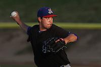 Zach Thornton #30 of the Stockton Ports pitches against the High Desert Mavericks at Stater Bros. Stadium on May 27, 2012 in Adelanto,California. High Desert defeated Stockton 6-5.(Larry Goren/Four Seam Images)