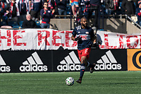 FOXBOROUGH, MA - MARCH 7: Andrew Farrell #2 of New England Revolution brings the ball forward during a game between Chicago Fire and New England Revolution at Gillette Stadium on March 7, 2020 in Foxborough, Massachusetts.
