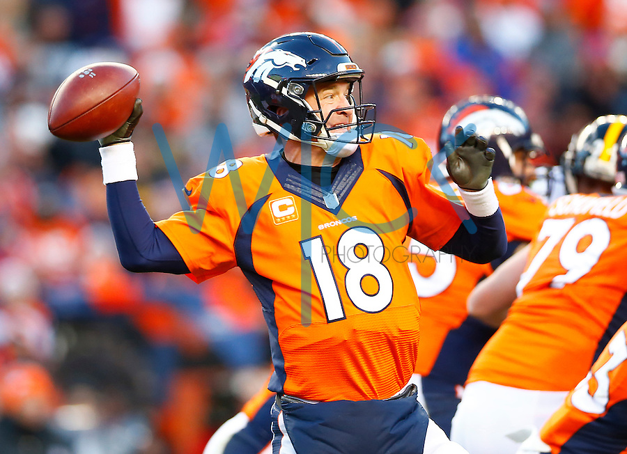 Peyton Manning #18 of the Denver Broncos throws a pass against the Pittsburgh Steelers during the AFC Divisional Round Playoff game at Sports Authority Field at Mile High on January 17, 2016 in Denver, Colorado. (Photo by Jared Wickerham/DKPittsburghSports)