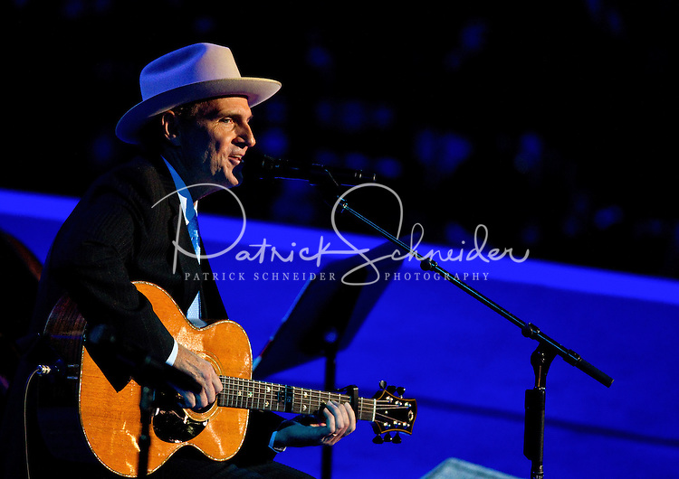 Singer James Taylor at the Time Warner Cable Arena in Charlotte, North Carolina, on September 6, 2012 on the final day of the Democratic National Convention