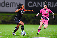 Esther Buabadi (24) of Zulte-Waregem and Ylenia Carabott (7) of Sporting Charleroi pictured during a female soccer game between Sporting Charleroi and SV Zulte-Waregem on the 12 th matchday of the 2020 - 2021 season of Belgian Scooore Womens Super League , friday 29 th of January 2021  in Marcinelle , Belgium . PHOTO SPORTPIX.BE | SPP | DAVID CATRY