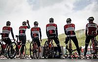 Team Trek-Segafredo on the presentation podium at the start in El Pas de la Casa (on teh Andorian-French border)<br /> <br /> Stage 16 from El Pas de la Casa to Saint-Gaudens (169km)<br /> 108th Tour de France 2021 (2.UWT)<br /> <br /> ©kramon