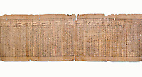 "Anciient Egyptian Book of the Dead papyrus - Spell 30 for stopping the heart betraying the deceased at the tribunal of Osiris, Iufankh's Book of the Dead, Ptolemai period (332-30BC).Turin Egyptian Museum. White Background<br /> <br /> the spell reads ' Stand not against me as a witness, oppose me not in the Council, act not against me before the gods, outweigh me not before the great God, the Lord os the West""<br /> <br /> The translation of  Iuefankh's Book of the Dead papyrus by Richard Lepsius marked a truning point in the studies of ancient Egyptian funereal studies."
