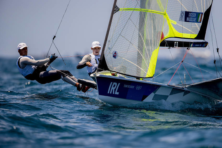 The Irish 49er duo of Robert Dickson and Sean Waddilove are currently sitting in 14th overall after nine races