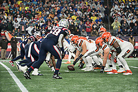 FOXBOROUGH, MA - OCTOBER 27: Cleveland offensive line prepares to snap the ball to Cleveland Browns Quarterback Baker Mayfield #6 during a game between Cleveland Browns and New Enlgand Patriots at Gillettes on October 27, 2019 in Foxborough, Massachusetts.