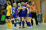 GER - Muelheim an der Ruhr, Germany, February 04: During the FinalFour semi-final women hockey match between Harvestehuder THC (yellow) and Mannheimer HC (blue) on February 4, 2017 at innogy Sporthalle in Muelheim an der Ruhr, Germany. Final score 4-2 (HT 1-2). (Photo by Dirk Markgraf / www.265-images.com) *** Local caption *** (L-R) Lydia Haase #12 of Mannheimer HC, Camille Nobis #8 of Mannheimer HC, Greta Lyer #10 of Mannheimer HC