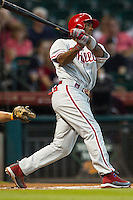 Philadelphia Phillies shortstop Jimmy Rollins #11 swings during the Major League baseball game against the Houston Astros on September 16th, 2012 at Minute Maid Park in Houston, Texas. The Astros defeated the Phillies 7-6. (Andrew Woolley/Four Seam Images)..