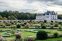 France, Indre-et-Loire (37), Chenonceaux, château de Chenonceau, le jardin de Diane de Poitiers